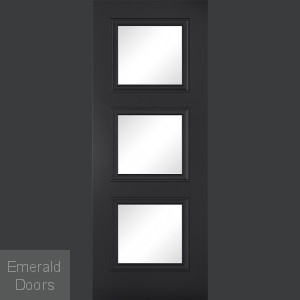 Antwerp 3L Black Glazed Internal Door