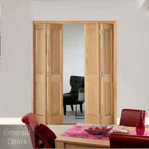 4 Leaf Oak Victorian 2 Panel Bi-Folding Set