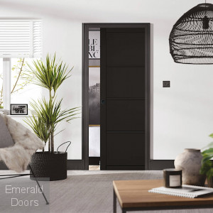 Soho 4P Black Double Pocket Door Set