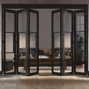 Black Tribeca 6 Door Industrial Style Folding Doors Clear Glazed