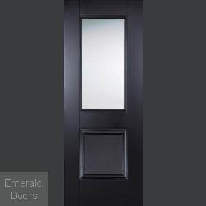 Arnhem Black 1L 1P Clear Glazed Internal Door