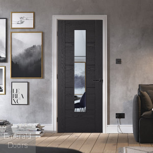 Black Ash 1L Vancouver Laminate Glazed Door