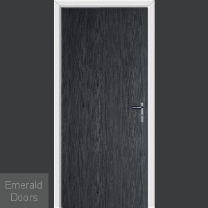 Black Modern Flush External Fire Door Set