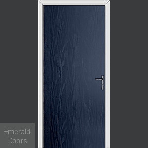 Blue Modern Flush External Fire Door Set