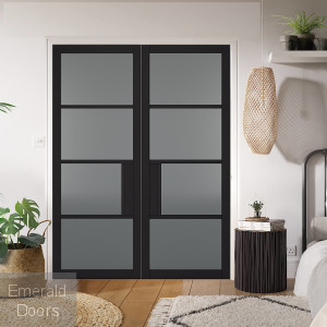 Black Chelsea 4L Internal Door Pair with Tinted Glass