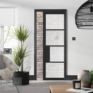 Black Chelsea 4L with Reeded Glass Pocket Door System