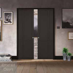 Liberty Black 4P Double Pocket Door System
