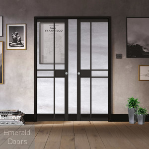 Greenwich Black Double Pocket Door System