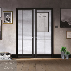 Liberty Black 4L Double Pocket Door System