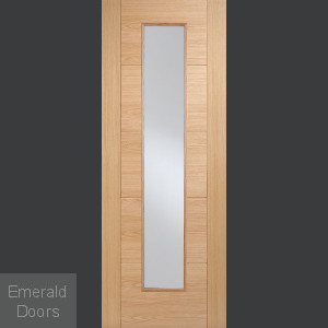 6006 Oak Long Light Glazed Fire Door
