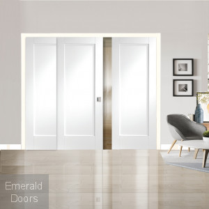Pattern 10 White Primed 3 Door Sliding Door System