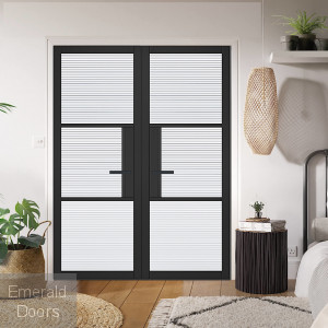 Black Tribeca 3L Internal Door Pair with Reeded Glass