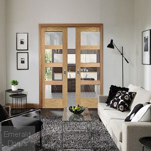 Shaker Oak Clear Glazed Double Pocket Doors