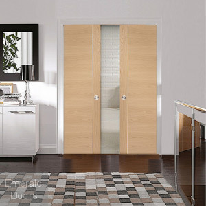 Forli Oak Double Door Pocket Door System
