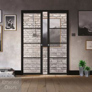 SOHO 4G BLACK DOUBLE POCKET DOOR SET