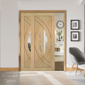 Oak Treviso Sliding Door with Fixed Side Panel