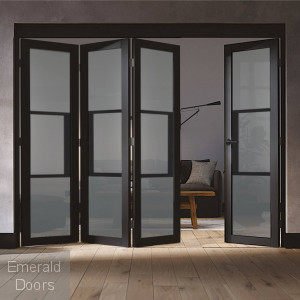 Black Tribeca 4 Door Industrial Style Folding Doors with Tinted Glass