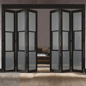 Black Tribeca 6 Door Industrial Style Folding Doors with Tinted Glass