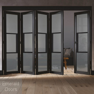 Black Tribeca 5 Door Industrial Style Folding Doors with Tinted Glass