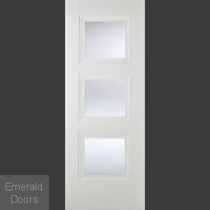 Amsterdam 3L White Primed Glazed Door