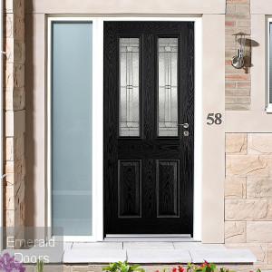 GRP Black Malton 2 Light Composite External Door