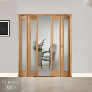 4 Leaf Oak Marston Frosted Glazed Bi-Folding Set