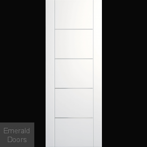 Portici White Fire Door with Aluminium Inlays