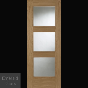 Madrid 3L Oak Clear Glazed Fire Door