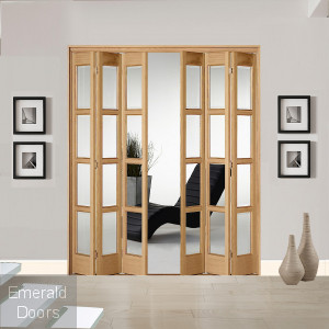 6 Leaf Oak Bardsley 4 Light Clear Glazed Bi-Folding