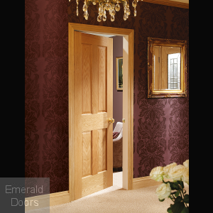 Victorian 4 Panel Internal Oak Fire Door with non Raised Mouldings In Situ Image