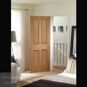 Victorian 4 Panel Oak Door with Raised Mouldings In Situ