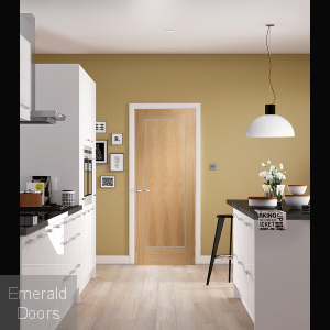 Varese Pre-Finished Oak Door In Roomset
