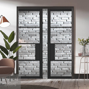 Black Chelsea 4L Clear Glazed Pocket Door System