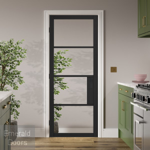 Black Chelsea 4L Clear Glazed Internal Door