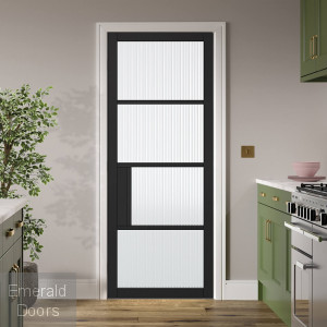 Black Chelsea 4L Internal Door with Reeded Glass