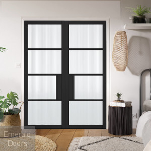 Black Chelsea 4L Internal Door Pair with Reeded Glass