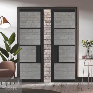 Black Chelsea 4L Tinted Glazed Pocket Door System