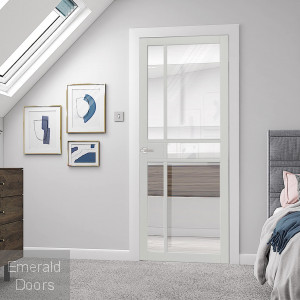 City White Industrial Style Glazed Door Fully Finished
