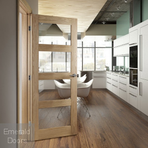 Coventry Oak Internal Door With Clear Glass