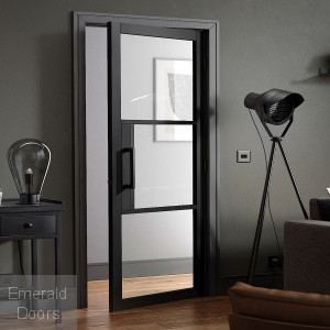 Black Tribeca 3L Clear Glazed Internal Door