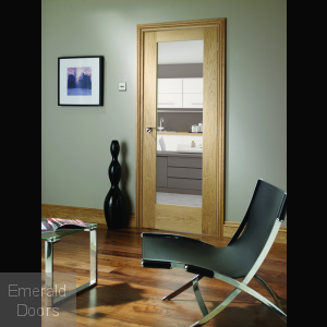 Pattern 10 Oak Door with Clear Glass In Roomset
