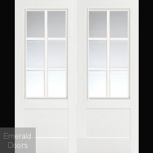 Custom Made White 6 Light Fire Door Pair