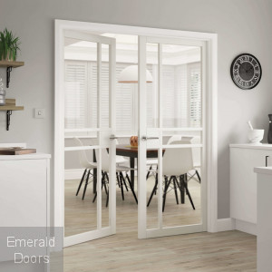 City White Industrial Style Glazed Door Pair Fully Finished