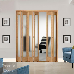 6 Leaf Oak Marston Frosted Glazed Bi-Folding Set