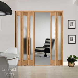 5 Leaf Oak Marston Frosted Glazed Bi-Folding Set