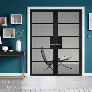 Metro Black Glazed Fully Finished Industrial Style Door Pair