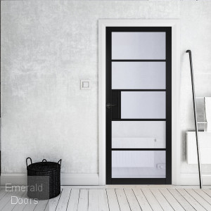 Metro Black 5L Glazed Industrial Style Door Fully Finished