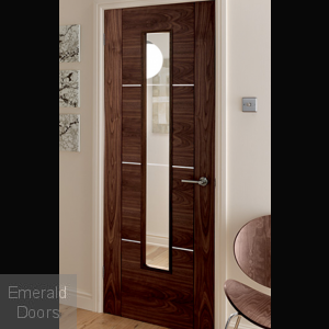 Nova Walnut 1 Light Glazed Fire Door