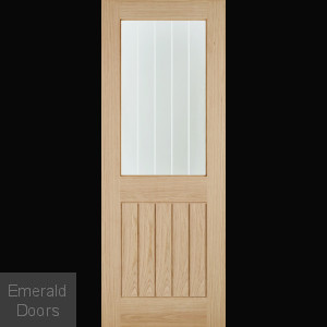 Belize Oak 1 Light Internal Door with Silkscreen Glass