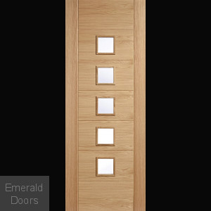 Carini Oak Glazed Door 7 Panel 5 Light Clear Glazed door